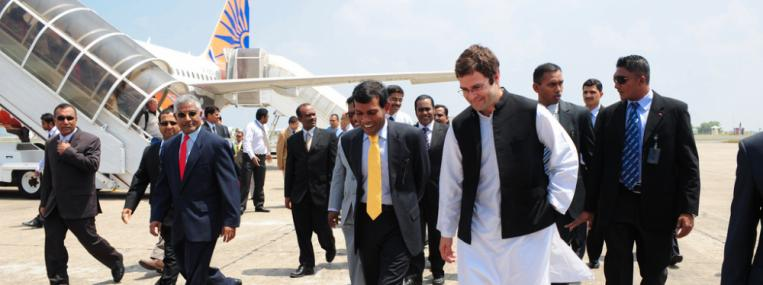 Rahul Gandhi, grandson of Indira Gandhi and possible next Prime Minister of India, visits the Maldives. Photo by Maldives Presidency via Flickr