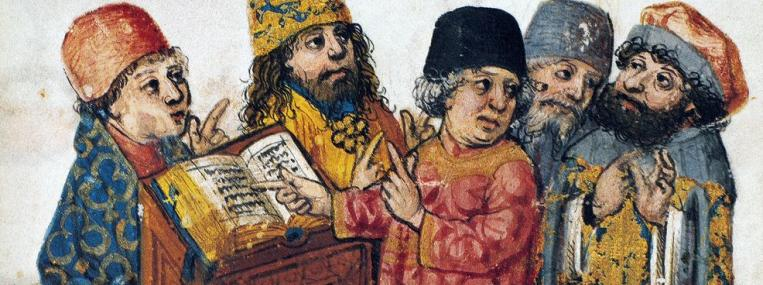 In this 15th-century German print, rabbis read from the Haggadah, the tale of the Exodus that Jews consult at the beginning of Passover. Thanks to an early theological shift that required all Jewish males to study the central texts called the Torah, literacy spread among Jews long before it did among Christians and Muslims. Photo via The Granger Collection, NYC.