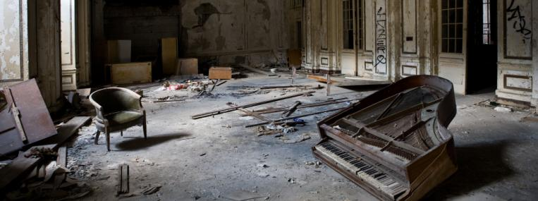 The derelict lobby of Detroit's Lee Plaza Hotel made an elequent statement about the city's plight in 2009. But some buildings in the blighted city have found new life. TIMOTHY FADEK / CORBIS