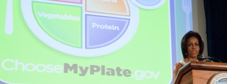 Michelle Obama unveils a new chart to promote healthy food choices. (U.S. Department of Agriculture / Flickr)