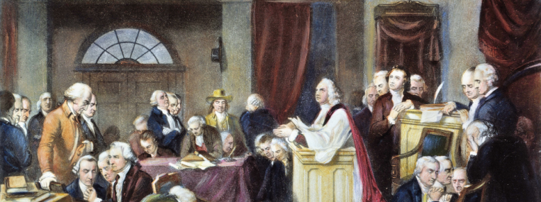 "When an eloquent Anglican clergyman gave the first prayer at the First Continental Congress in 1774, one member wrote that ""even Quakers shed tears."" But the Founders were a religiously diverse lot, and some honored conventional religion more in public than in private. (Granger Archive)"