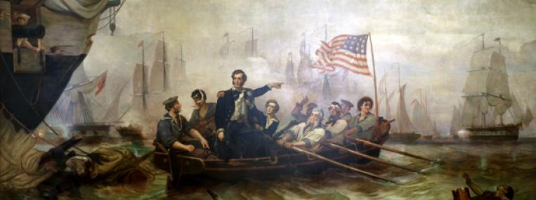 Painting of Commander Oliver Hazard Perry during the Battle of Lake Erie during the War of 1812 via Wikimedia Commons