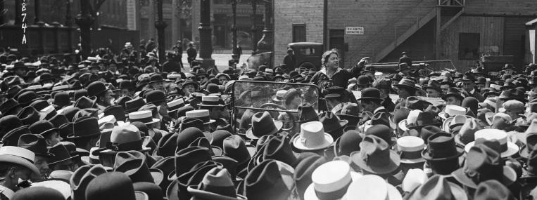 Anarchist, writer, and agitator Emma Goldman, shown here in New York in 1916, was one of the figures who created a new image of the public intellectual as antibourgeois radical. (BETTMANN / CORBIS)