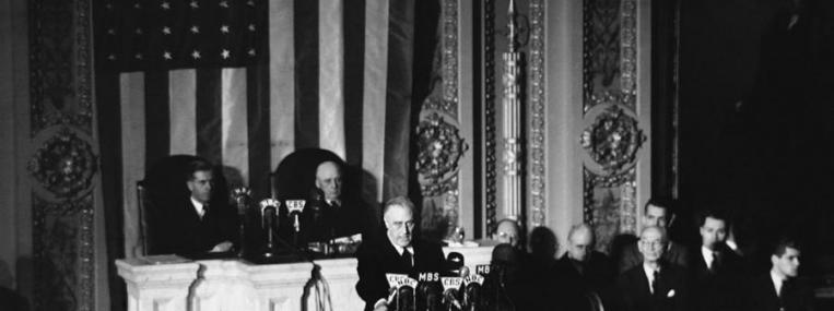 U.S. President Roosevelt asked Congress to declare war on Japan on December 8, 1941. Photo via Associated Press