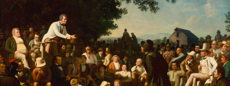 In George Bingham's Stump Speaking (1853–54), a common code of civility enables people of many different kinds to meet for political discussion. (SAINT LOUIS ART MUSEUM)