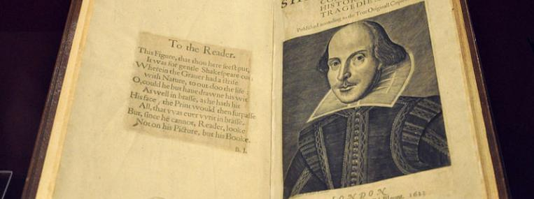 Photo of Shakespeare's First Folio via Wikimedia Commons