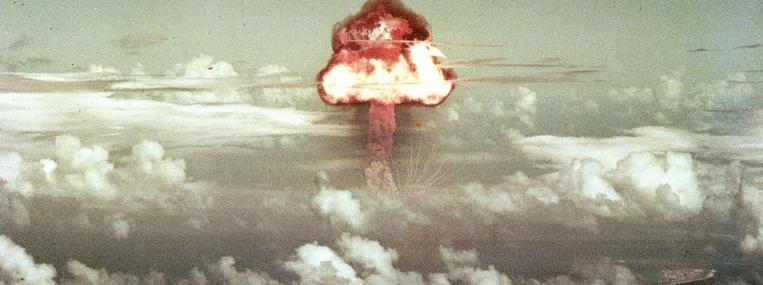 Photo of a mushroom cloud from a 1953 atomic bomb test by U.S. Department of Defense