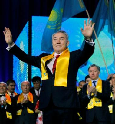 Photo: Enough votes: Kazakhstan's president Nursultan Nazarbayev greets supporters in 2011 after being reelected with 96 percent of the vote. YURI KOCHETKOV / EPA / CORBIS