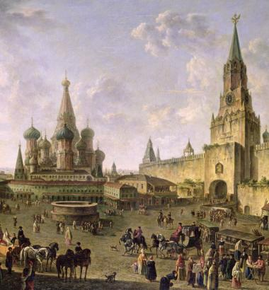 "Depicted here in ""Red Square, Moscow, 1801"" by Fedor Yakovlevich Alekseev, the Krasnaya Ploshchad, as Russians call it, did not get its name from the Communist Party or the color of its bricks. Though ""krasnaya"" now translates to ""red,"" it originally meant ""beautiful."" (TRETYAKOV GALLERY, MOSCOW, RUSSIA / THE BRIDGEMAN ART LIBRARY)"