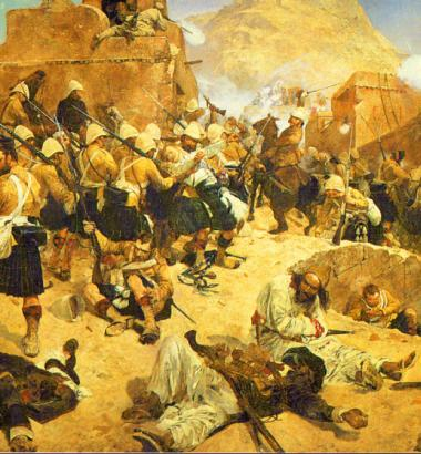 British and Gurkha troops attack Afghan troops in this painting of the Battle of Kandahar, which ended the Second Anglo-Afghan War.