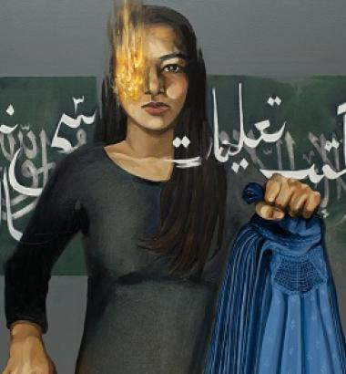 "Art: Afghan painter Hangama Amiri's ""Girl Under the Taliban"" depicts a burqa, the full-body covering that the militants forced women to wear. The artist fled to Canada with her family in 1996 when she was six years old. A 2010 visit to Afghanistan inspired her series The Wind-Up Dolls of Kabul."