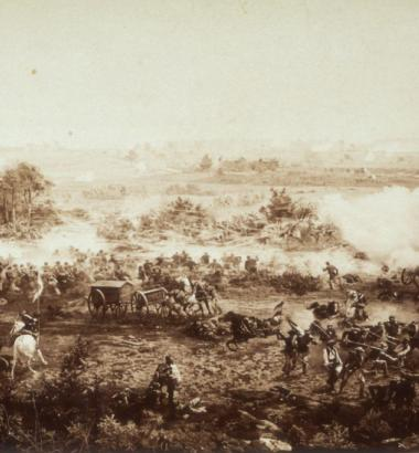 Pickett's Charge: Confederate troops braved hundreds of yards of open terrain in an ill-fated attempt to turn the tide on the last day of battle at Gettysburg. French artist Paul Philippoteaux recreated the chaos in a cyclorama called The Battle of Gettysburg, first displayed in Chicago in 1883, a portion of which is shown here. (Medford Historical Society Collection / CORBIS)