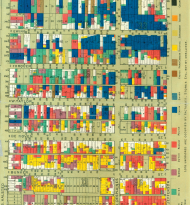 An 1895 map reveals the profusion of foreign languages spoken in one Chicago neighborhood, but it wasn't long before English prevailed. (Newberry Research Library)