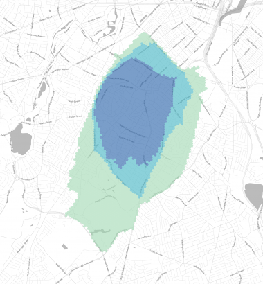 A crowd-sourced project at the website Bostonography uses colored hexagons to map Boston residents' perceptions of their neighborhood boundaries. Purple covers areas where more than 75 percent of respondents agree, aqua more than 50 percent, and green more than 25 percent. (Bostonography)