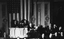 U.S. President Roosevelt asked Congress to declare war on Japan on December 8, 1941. Photo via Associated Press