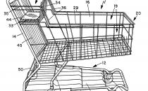 Patent drawing of a shopping cart by John V. Ondrasik via FreePatentsOnline.com